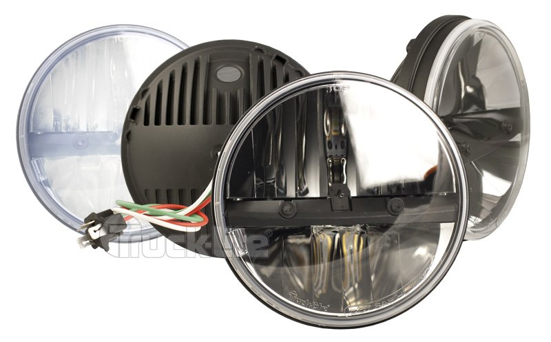 "7"" Round LED Headlamp, Complex Reflector Optics Design"